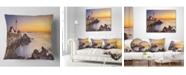 """Design Art Designart 'Portland Head Lighthouse Maine' Modern Seascape Throw Pillow - 16"""" x 16"""""""