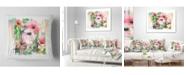 "Design Art Designart 'Pink Floral Watercolor Illustration' Animal Throw Pillow - 16"" x 16"""