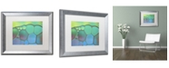 """Trademark Global Cora Niele 'Lime Green and Blue Stained Glass' Matted Framed Art - 20"""" x 16"""" x 0.5"""""""