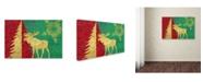 "Trademark Global Cora Niele 'Xmas Tree and Moose' Canvas Art - 19"" x 12"" x 2"""