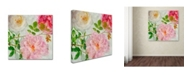 "Trademark Global Cora Niele 'Peonies And Roses I' Canvas Art - 18"" x 18"" x 2"""