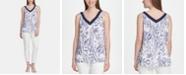 DKNY Printed Pleated V-Neck Top