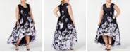 XSCAPE Plus Size Floral-Print High-Low Gown