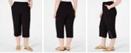 JM Collection Plus Size Button-Hem Capri Pants, Created for Macy's