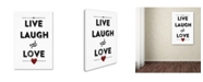 "Trademark Global Marcee Duggar 'Live Laugh Love' Canvas Art - 19"" x 12"" x 2"""