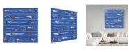 "Trademark Global Sher Sester 'Flight Time Stripe Pattern Blue Repeat' Canvas Art - 18"" x 18"" x 2"""