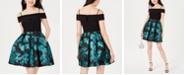 Morgan & Company Juniors' Printed Cold-Shoulder Fit & Flare Dress