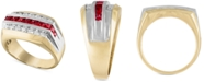 Macy's Men's Lab-Created Ruby (1-1/10 ct. t.w.) & White Sapphire (5/8 ct. t.w.) Ring in 10k Gold