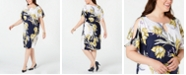 JM Collection Plus Size Embellished Printed Shift Dress, Created for Macy's