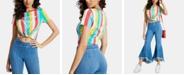 GUESS Rainbow-Stripe Twist-Hem T-Shirt