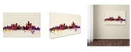 "Trademark Global Michael Tompsett 'Detroit Michigan Skyline' Canvas Art - 12"" x 19"""