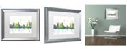 "Trademark Global Marlene Watson 'Detroit Michigan Skyline Mclr-1' Matted Framed Art - 16"" x 20"""
