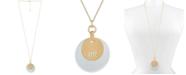 "RACHEL Rachel Roy Two-Tone Logo Disc Pendant Necklace, 32"" + 2"" extender"