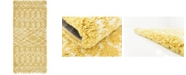 "Bayshore Home Bridgeport Home Fazil Shag Faz2 Yellow 2' 7"" x 6' Runner Area Rug"