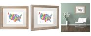 "Trademark Global Michael Tompsett 'US Typography Text Map' Matted Framed Art - 16"" x 20"""