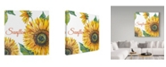 """Trademark Global Jean Plout 'Sunflower On White' Canvas Art - 18"""" x 18"""""""