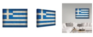 "Trademark Global Red Atlas Designs 'Greece Distressed Flag' Canvas Art - 19"" x 14"""
