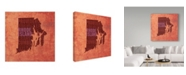 "Trademark Global Red Atlas Designs 'Rhode Island State Words' Canvas Art - 18"" x 18"""