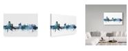 "Trademark Global Michael Tompsett 'Leeds England Blue Teal Skyline' Canvas Art - 24"" x 16"""