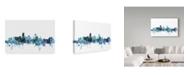 "Trademark Global Michael Tompsett 'Miami Florida Blue Teal Skyline' Canvas Art - 47"" x 30"""