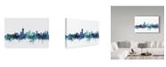 """Trademark Global Michael Tompsett 'Adelaide Australia Blue Teal Skyline' Canvas Art - 24"""" x 16"""""""