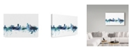 """Trademark Global Michael Tompsett 'Liege Belgium Blue Teal Skyline' Canvas Art - 32"""" x 22"""""""