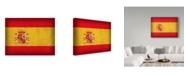"Trademark Global Red Atlas Designs 'Spain Distressed Flag' Canvas Art - 47"" x 35"""
