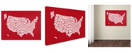"Trademark Global Michael Tompsett 'RED-USA States Text Map' Canvas Art - 24"" x 16"""