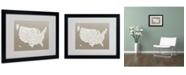 "Trademark Global Michael Tompsett 'TAUPE-USA States Text Map' Matted Framed Art - 20"" x 16"""