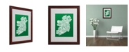 "Trademark Global Michael Tompsett 'FOREST-Ireland Text Map' Matted Framed Art - 20"" x 16"""
