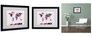 """Trademark Global Michael Tompsett 'Paint Splashes World Map 3' Matted Framed Art - 20"""" x 16"""""""