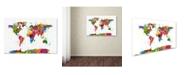"Trademark Global Michael Tompsett 'Map of the World Watercolor' Canvas Art - 22"" x 32"""