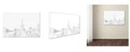 "Trademark Global Marlene Watson 'Bristol England Skyline BW Thin Line' Canvas Art - 12"" x 19"""