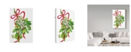 "Trademark Global Joanne Porter 'Mistletoe With Red Ribbon' Canvas Art - 12"" x 19"""