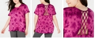 Ideology Plus Size Tie-Dyed Lattice-Back T-Shirt, Created for Macy's