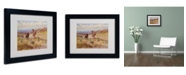 """Trademark Global Charles Russell 'Spearing a Buffalo 1925' Matted Framed Art - 14"""" x 11"""""""