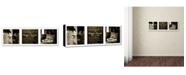 """Trademark Global Preston 'Paris Triptych Restaurant' Canvas Art - 6"""" x 19"""""""