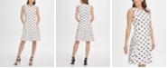 DKNY Polka-Dot Fit-and-Flare Dress