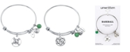 Unwritten Baseball Charm and Green Aventurine (8mm) Bangle Bracelet in Stainless Steel Silver Plated Charms