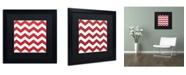 "Trademark Global Color Bakery 'Xmas chevron 8' Matted Framed Art - 16"" x 16"""