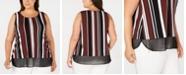 Alfani Plus Size Sleeveless Printed Sheer-Hem Top, Created for Macy's