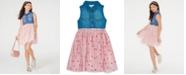 Rare Editions Big Girls Denim & Star-Print Mesh Dress