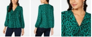Thalia Sodi Pleated Leopard-Print Peasant Top, Created for Macy's