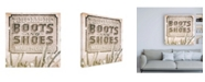 """Trademark Global Philippe Hugonnard Made in Spain 3 Boots and Shoes Sign II Canvas Art - 19.5"""" x 26"""""""