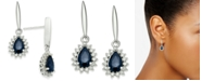 Macy's Sapphire (1 ct. t.w.) & Diamond (1/5 ct. t.w.) Drop Earrings in 14k White Gold