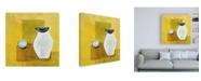 "Trademark Global Pablo Esteban Vase on Yellow Canvas Art - 15.5"" x 21"""