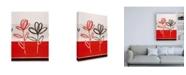 "Trademark Global Pablo Esteban Red and Black Flowers Canvas Art - 15.5"" x 21"""