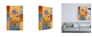 "Trademark Global Pablo Esteban Purple and Blue Flowers on Squares Canvas Art - 19.5"" x 26"""