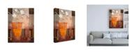 "Trademark Global Pablo Esteban White Flowers in Orange Vase Canvas Art - 27"" x 33.5"""