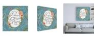 "Trademark Global Janelle Penner Retro Garden II - Love Grows Here Blue Canvas Art - 15.5"" x 21"""